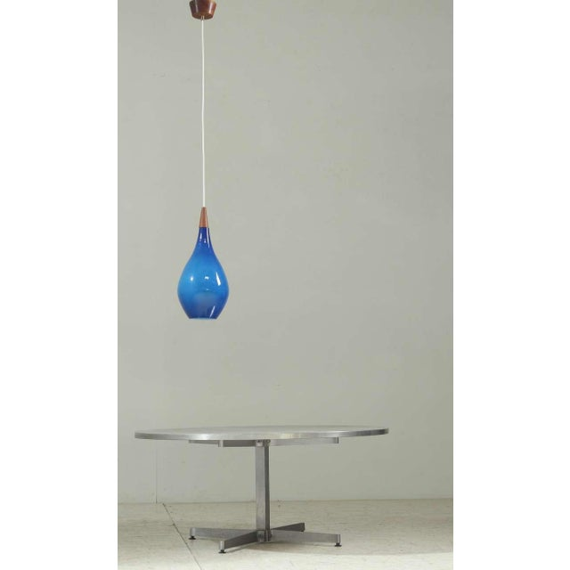 Large Sapphire Blue Glass Drop Shaped Holmegaard Pendant. Denmark, 1950s - Image 3 of 5