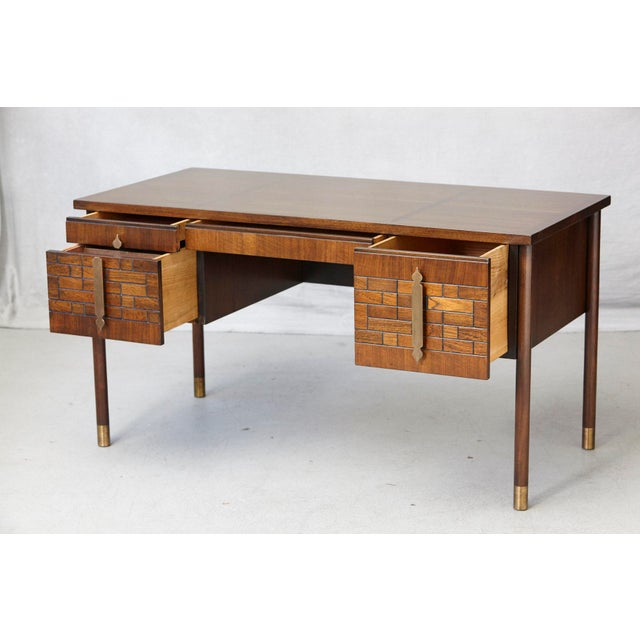 Walnut Desk With Graphic Wood Work and Brass Hardware, 1970s For Sale - Image 4 of 12