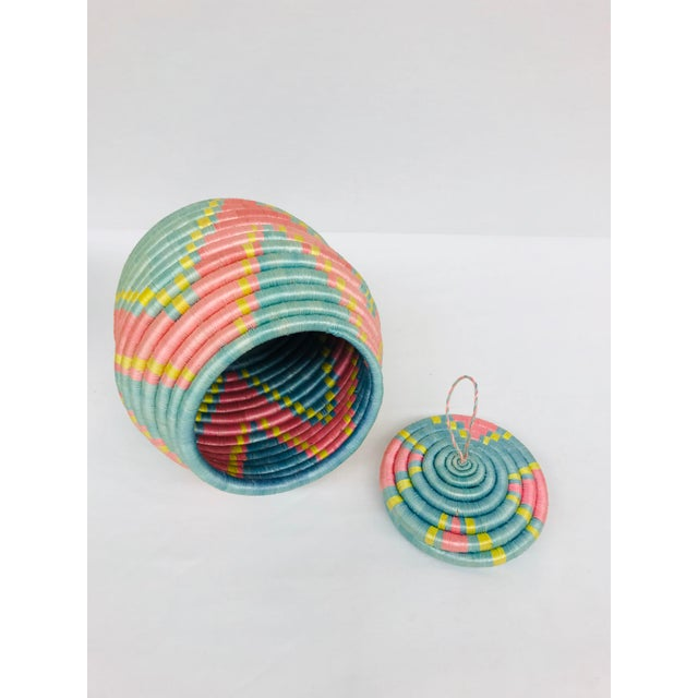 Pink/Yellow & Blue/Pink African Artisan Baskets - A Pair - Image 6 of 11