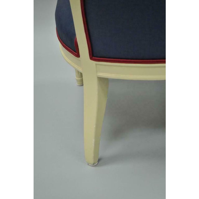 White Cream Lacquered Chinoiserie Blue Barrel Back Lounge Club Arm Chairs - A Pair For Sale - Image 8 of 10