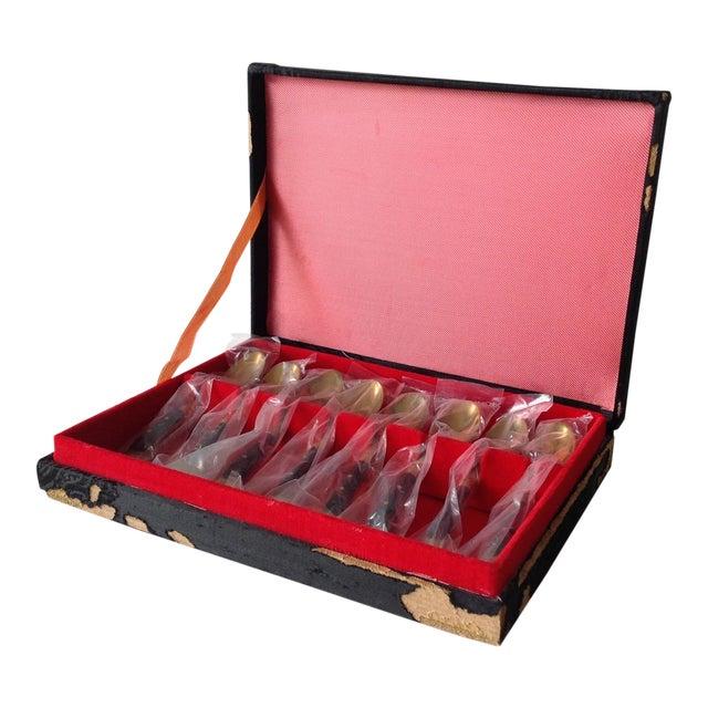 Asian Bronze Demitasse Spoons - Set of 8 - Image 1 of 11