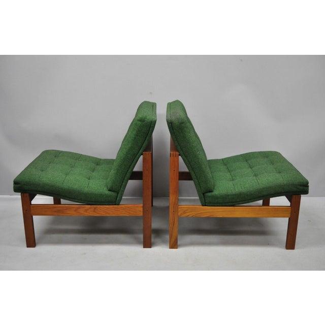 France & Son 1960s Vintage Gjerlov Knudsen Torben Lind France & Son Green Teak Moduline Slipper Chairs- A Pair For Sale - Image 4 of 11