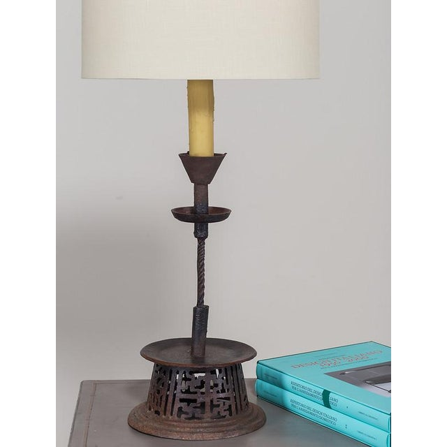 Late 19th Century 19th Century Indian Handsome Hand-Made Antique Iron Candlestick Lamp For Sale - Image 5 of 8