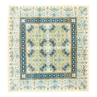 Boho Chic Square Hand-Knotted Rug For Sale