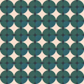 Mid-Century Modern Gemstone 'Emera'd' Standard Wallpaper Roll For Sale