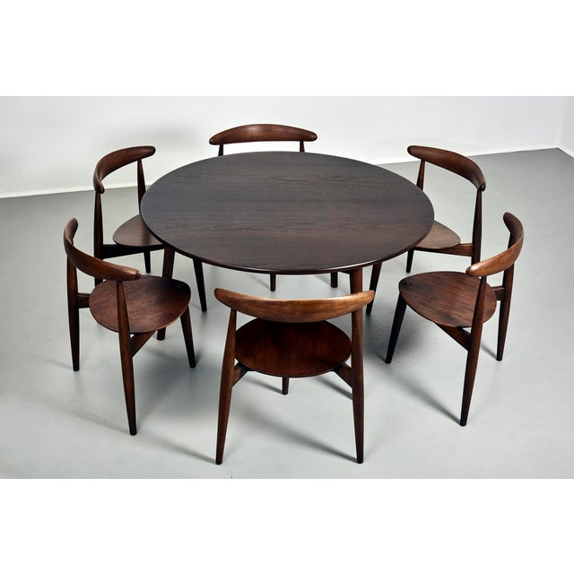 Textile Hans Wegner for Fritz Hansen Heart Dining Set With 6 Chairs, Circa 1950's For Sale - Image 7 of 7