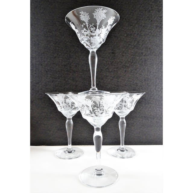 1960s French Style Etched Champagne Glasses - Set of 4 For Sale - Image 9 of 9