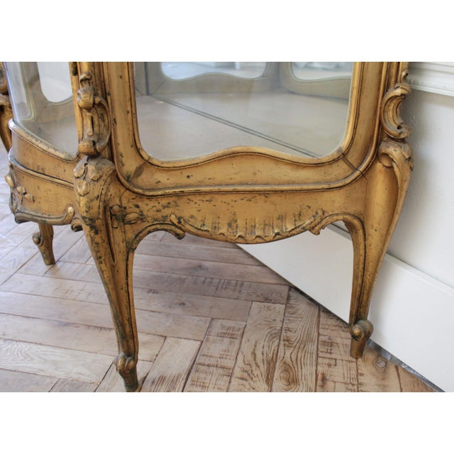 Early 20th Century Louis XV Style Giltwood Carved Vitrine Display For Sale - Image 10 of 12