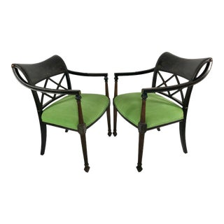 Vintage Mid Century Regency Chinoiserie Style Lacquer Armchairs- A Pair For Sale