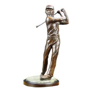 Dark Bronze Patina and Antique Brass Golf Player For Sale