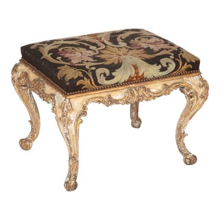 French Rococo Painted and Gilt Stool with Aubusson Upholstery For Sale