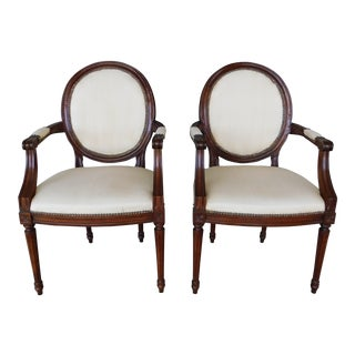 Kindel French Louis XVI Style Arm Chairs - a Pair