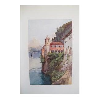 1905 Original Italian Print - Italian Travel Colour Plate - Santa Caterina, Lago Maggiore For Sale