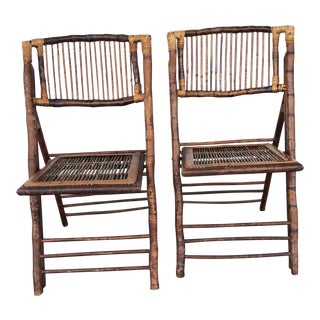 Bamboo and Tortious Rattan Folding Chairs - a Pair For Sale