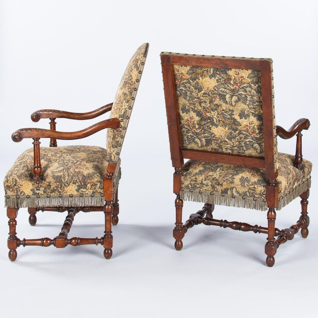 1860's French Louis XIII Style Armchairs - Pair - Image 3 of 10