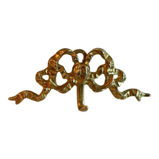 Vintage Brass Ribbon and Bow Shaped Wall Hook For Sale
