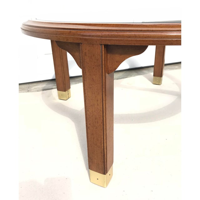 Round Brass, Wood & Glass Coffee Table - Image 2 of 4