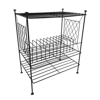 Mid Century Modern Black Wire Metal Record Rack Stand For Sale