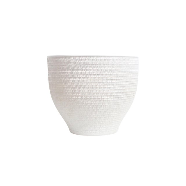 Monumental ceramic vessel / planter by David Cressey for Architectural Pottery. Subtle textured exterior surface with bone...