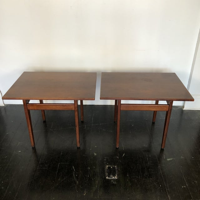 1960s Jens Risom Walnut Side Tables - a Pair For Sale - Image 5 of 13
