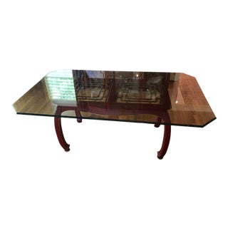 Thomasville Asian Inspired Glass Top Table For Sale