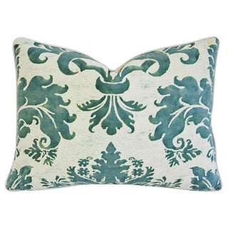 Designer Italian Fortuny Glicine & Velvet Pillow For Sale
