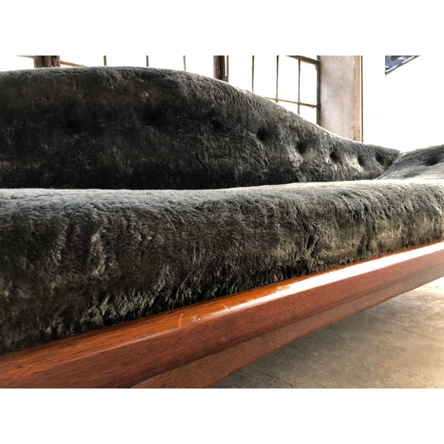 Mid Century Modern Designer Pearsall Style Gondola Sofa Fuzzy Black Velvet For Sale In Milwaukee - Image 6 of 10