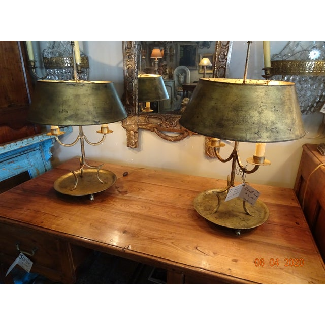 19th Century French Gilded Iron Bouillotte Lamps - a Pair For Sale - Image 10 of 12