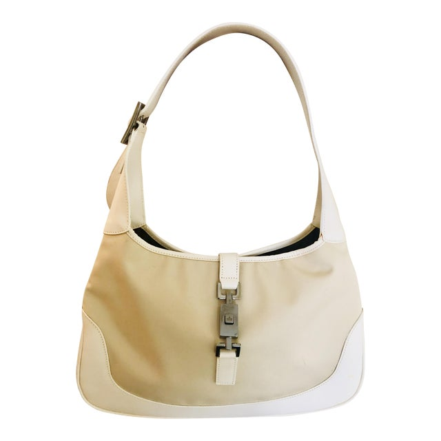 50df0ac78696 Gucci Tan Canvas and White Leather Jackie Hobo Bag | Chairish
