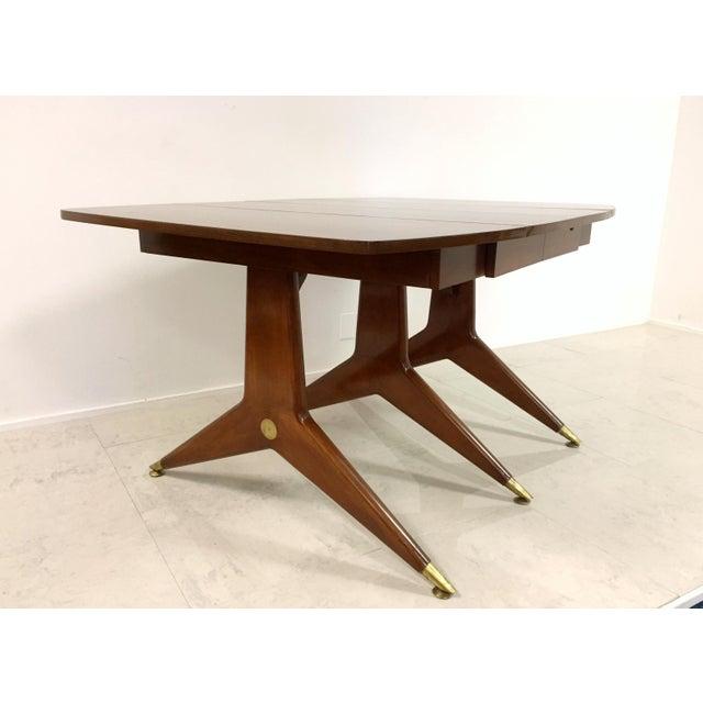 Gio Ponti Attr. Brass & Walnut Dining Table - Image 9 of 11