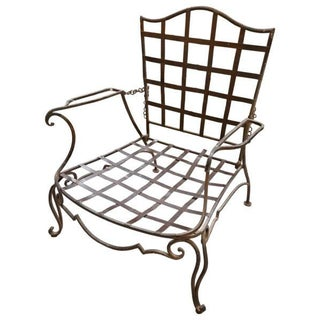 Pair of Jean Charles Moreux Reclining Wrought Iron Chairs