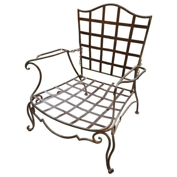 Jean-Charles Moreux Pair of Jean Charles Moreux Reclining Wrought Iron Chairs For Sale - Image 4 of 4