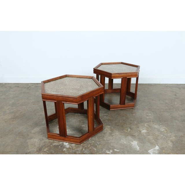 Brown Saltman Hexagonal End Tables - A Pair - Image 5 of 10