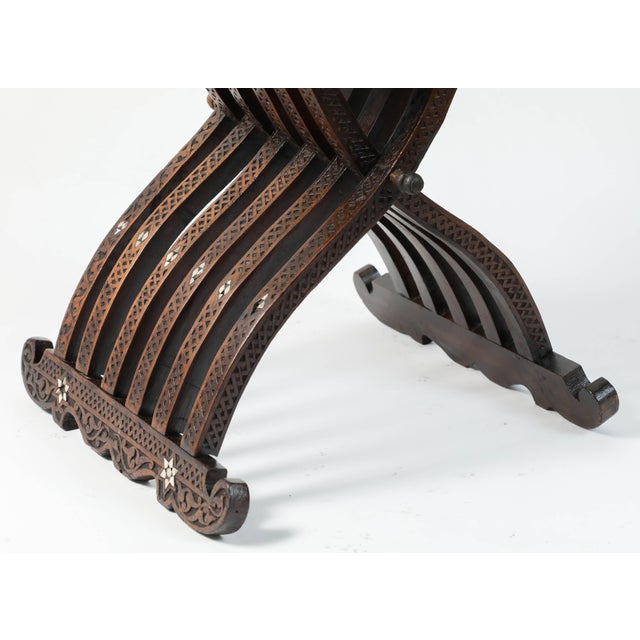 Brown Syrian Mother-Of-Pearl Inlaid Wooden Folding Chair For Sale - Image 8 of 10