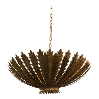 Visual Comfort Aerin Casual Hampton Large Chandelier in Gild For Sale