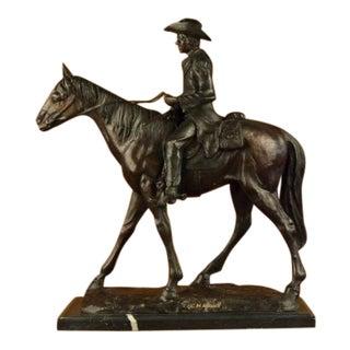 1990s Vintage Season Cowboy Bronze Sculpture For Sale