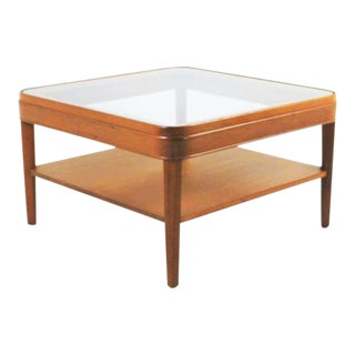 1950s Vintage Heywood Wakefield Style Glass Top Coffee Cocktail Table