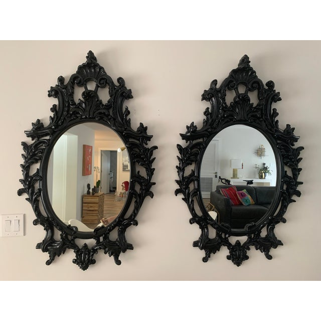 Rococo Black Lacquered Oval Mirrors - a Pair For Sale - Image 13 of 13