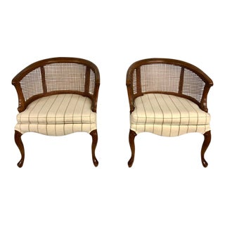 1960s Mid-Century Modern Barrel Cane Back Club Chairs - a Pair For Sale