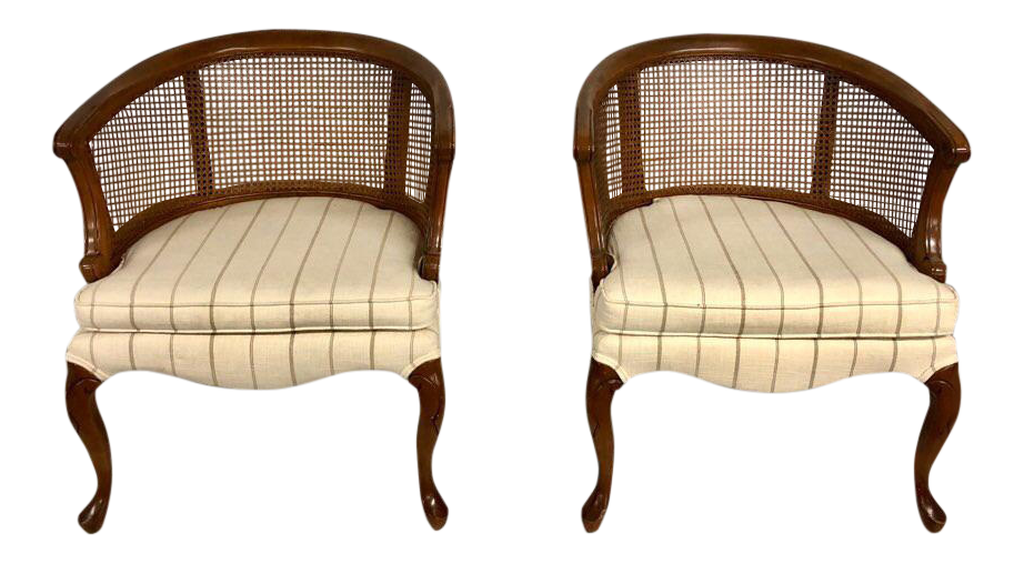 1960s Mid-Century Modern Barrel Cane Back Club Chairs - a Pair  sc 1 st  Chairish & Mid Century Cane Back Barrel Chairs - Set of 4 | Chairish