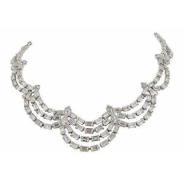 1950s Kramer of Ny Rhinestone Festoon Necklace For Sale - Image 12 of 12