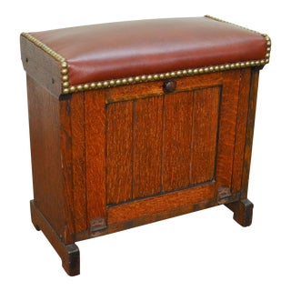 Arts & Crafts Antique Oak & Leather Shoe Shine Box Stool