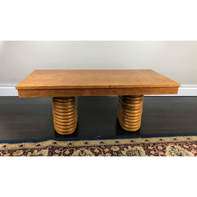 Mid-Century Modern Mid-Century Paul Frankl Pretzel Rattan Coffee Table For Sale - Image 3 of 9