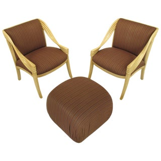 Pair of Weiman Hand-Carved Rattan-Form Lounge Chairs With Ottoman in Ivory Glaze For Sale