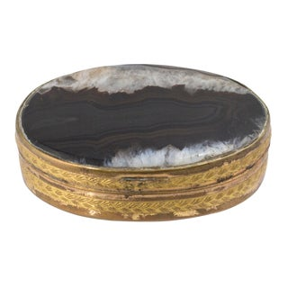 Mid 19th Century Vintage Victorian Brass & Agate Snuff Trinket Box For Sale
