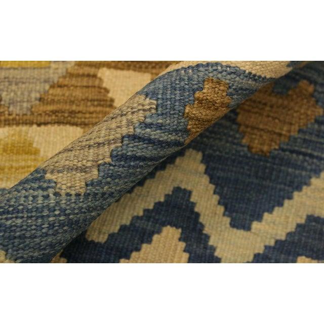 Nancee Blue/Ivory Hand-Woven Kilim Wool Rug -5'6 X 8'5 For Sale - Image 4 of 8