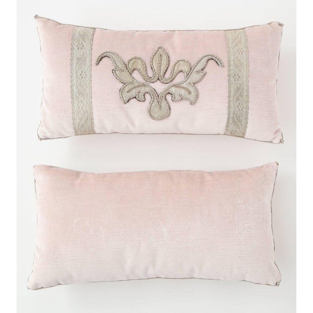 Contemporary Modern Blush Pink Velvet Pillows- A Pair For Sale - Image 3 of 9