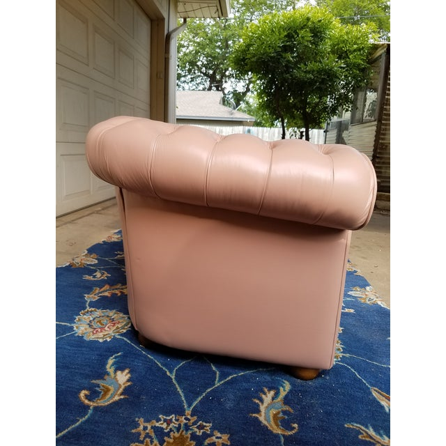Animal Skin Vintage Mid Century English Chesterfield Leather Sofa For Sale - Image 7 of 13