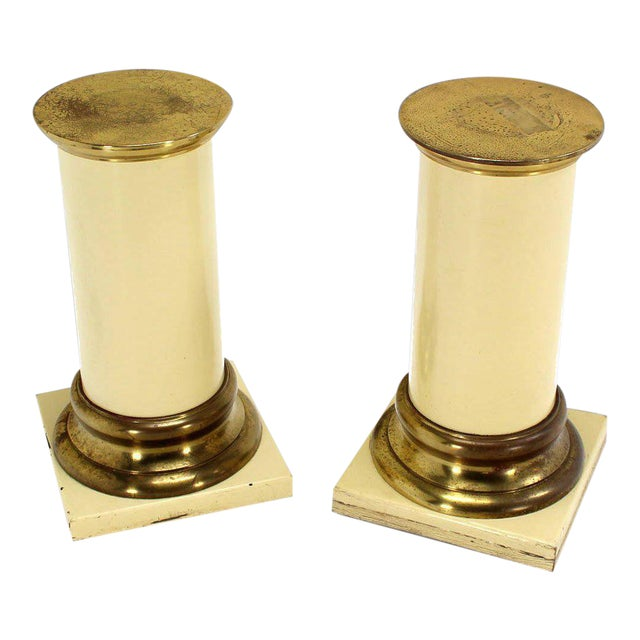 Vintage Mid-Century Brass & Lacquered Wooden Pedestals - A Pair For Sale