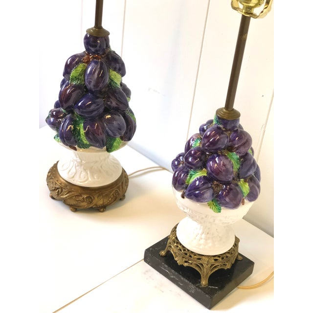 Friendly Vintage Italian Ceramic Fruit Topiary Lamps - a Pair For Sale - Image 9 of 13